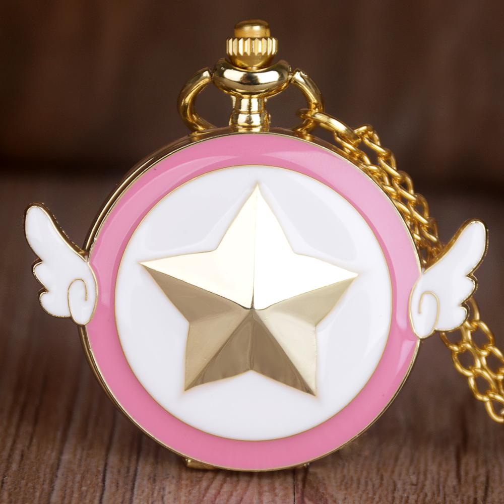 Wings Star Cartoon Pink Pocket Watches Pendant Necklace Fob Quartz For Girl Cosplay Anime Jewelry