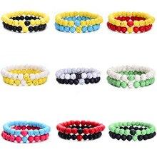 new 2Pcs/Set Couples Distance Bracelet Classic Natural Stone White and Black Yin Yang Beaded Bracelets for Men Women Best Friend
