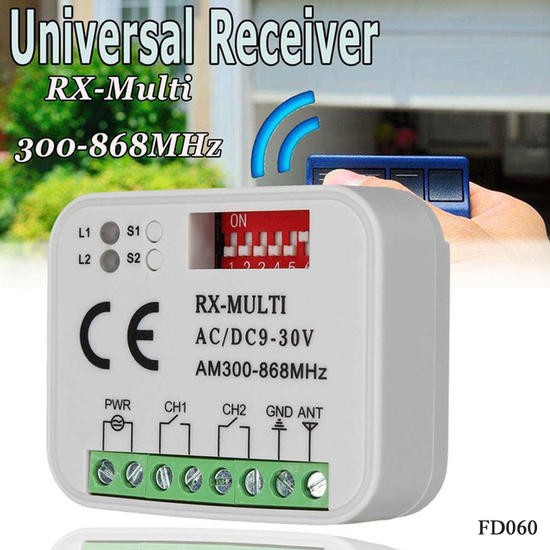 garage remote receiver RX Multi Frequency 300-868MHZ AC/DC 9-30V Universal Rolling Code Remote Receiver