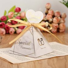 Marble style wedding decoration Gift Box christmas Candy Box With Ribbon Chocolate Packing cake box For event & party supplies(China)