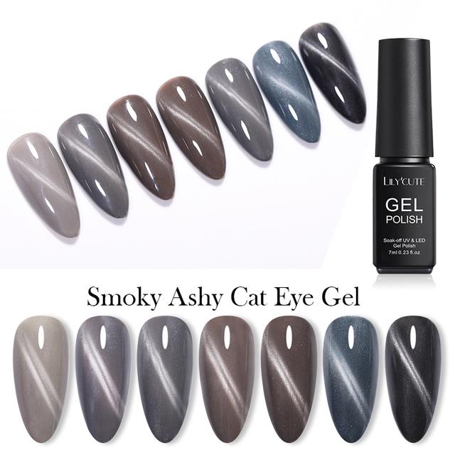 LILYCUTE 7ml Polish Smoky Ashy Cat Eye Gel