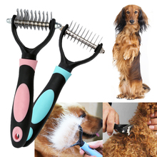Pet Comb Knife dog Grooming Double sided comb Open Knot Rake  Blue/Pink D40