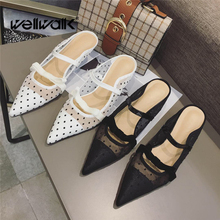 Wellwalk Heel Slippers Women Dress Shoes Ladies Small Mules High Fashion Lace Slides Pointed Toe