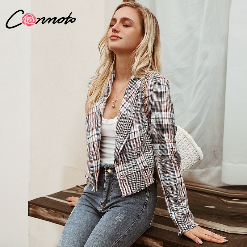 Conmoto Women Multicolor Plaid Short Blazer 2019 Autumn Winter Long Sleeve Blazer Jacket Mujer Business Chic Coat Outwear