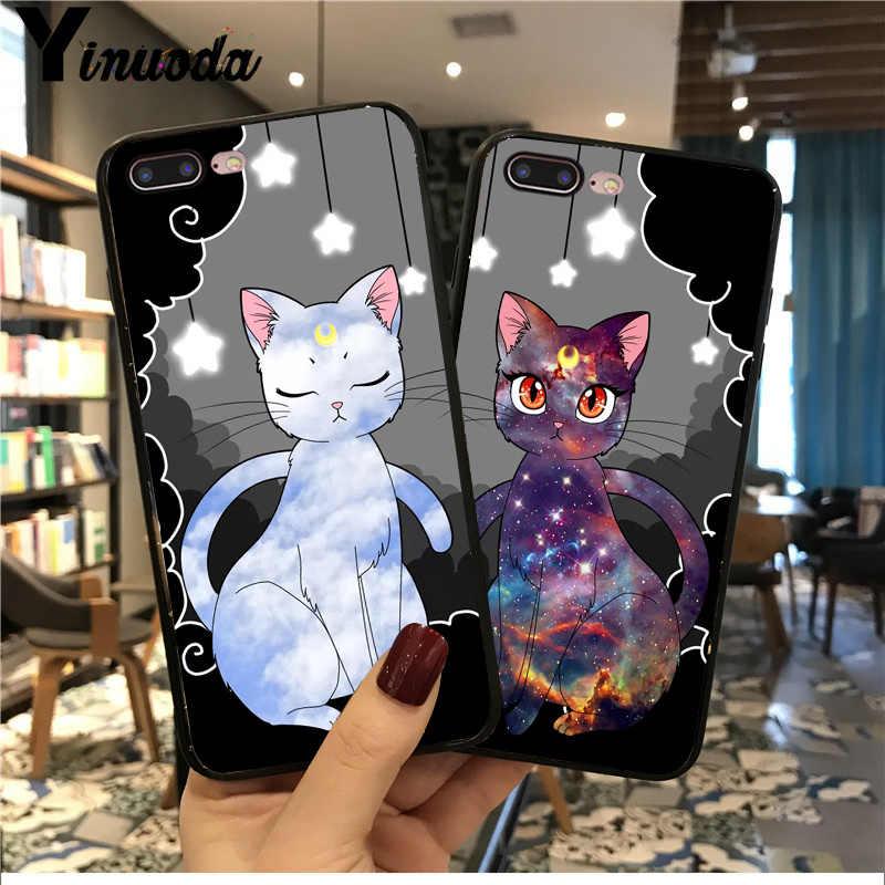 Yinuoda sailor moon cat coppia molle di tpu cassa Del Telefono per iphone 8 7 6 6S Plus XS XR XS MAX 10 5 5S SE 11pro max caso Coque funda