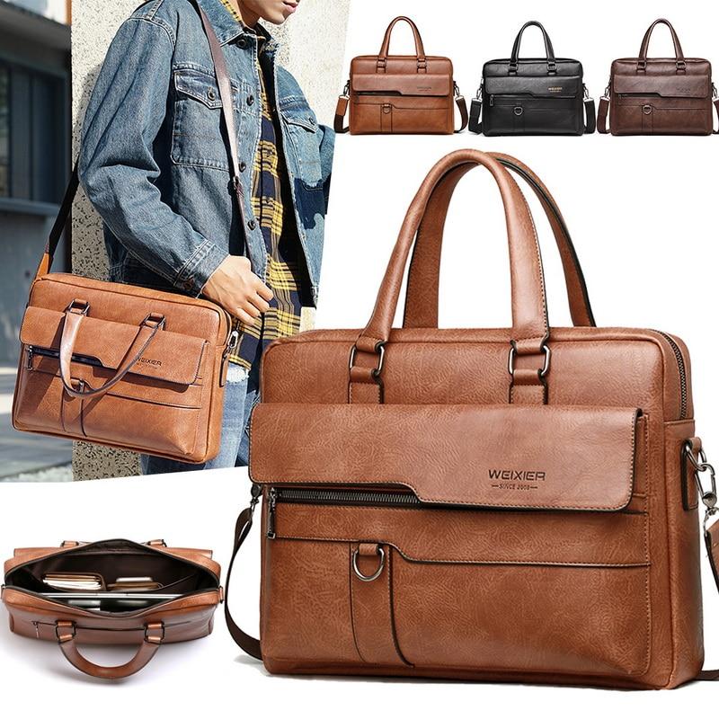 Retro Men Solid Color Bag Faux Leather Briefcase Large Capacity Totes Shoulder Bag Casual Business Men Laptop Briefcase 2020 New