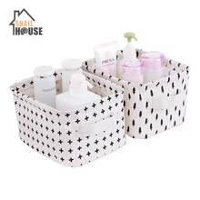 Snailhouse Cotton Linen Waterproof Storage Basket Portable Desktop Box Clothes Toys Underwear  Socks Organize