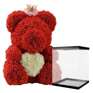 Image 4 - 2020 저렴 한 빨간 곰 로즈 테 디 베어 장미 꽃 인공 장식 생일 크리스마스 선물 여자 발렌타인 선물