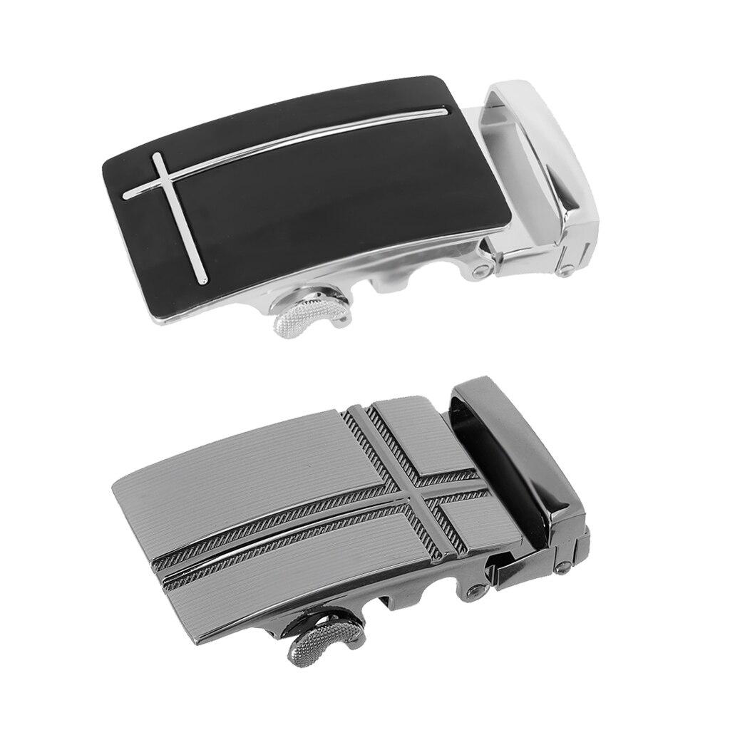 2pcs Classic Solid Buckle Automatic Ratchet Leather Belt Buckle, One Size(8 X 4cm)