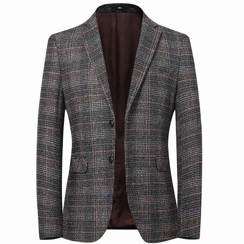 Men's Blazer Striped Jacket Elbow Patch Blazer Tweed Blazers Coat Business Casual Overcoat M-4XL