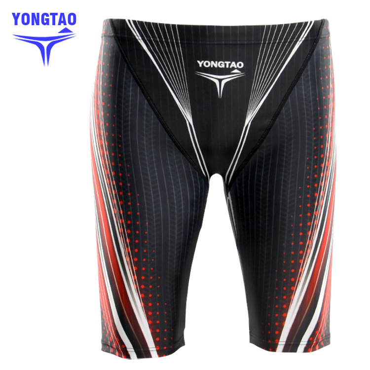 5 MEN'S Swimming Trunks Knee-Length Swimming Trunks Long Swimming Trunks Digital Printing Drainage Line Profession Swimming Trun