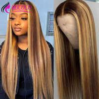 Peluca de cabello humano con encaje frontal, peluca recta roja con encaje Fronal, rubio miel, degradado, peluca con malla frontal, color marrón, pelucas de cabello humano