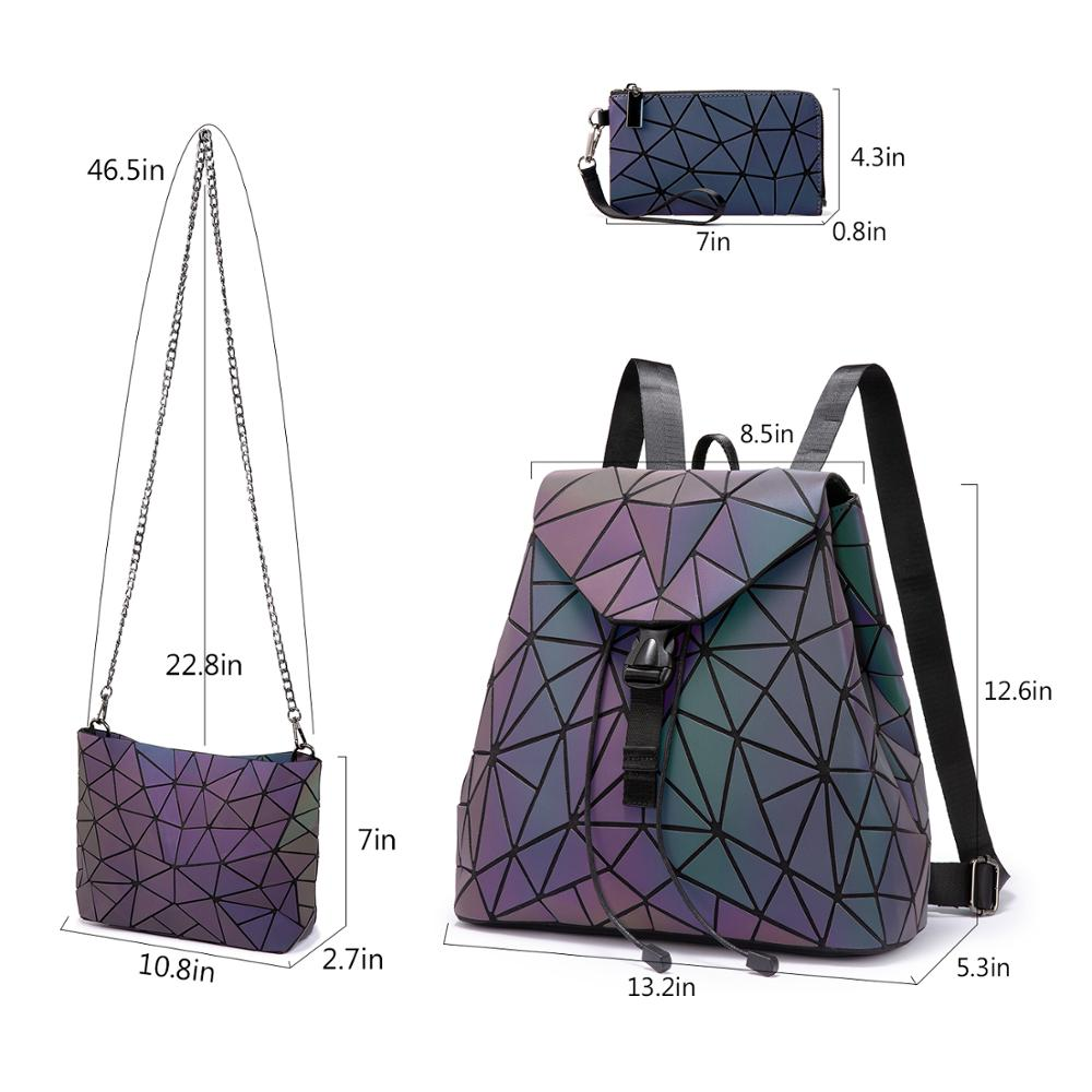 Reflective Geometric Luminescent  Bag Set - Clutch, Purse, & Backpack 4