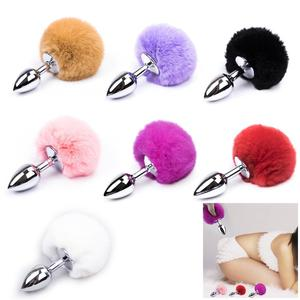 Fox Butt Plug Anal bdsm Anal Tail Metal Ball Anal Beads Plug Bunny Tail Smooth Touch Jewelry Sex Toys for Woman Men Gay