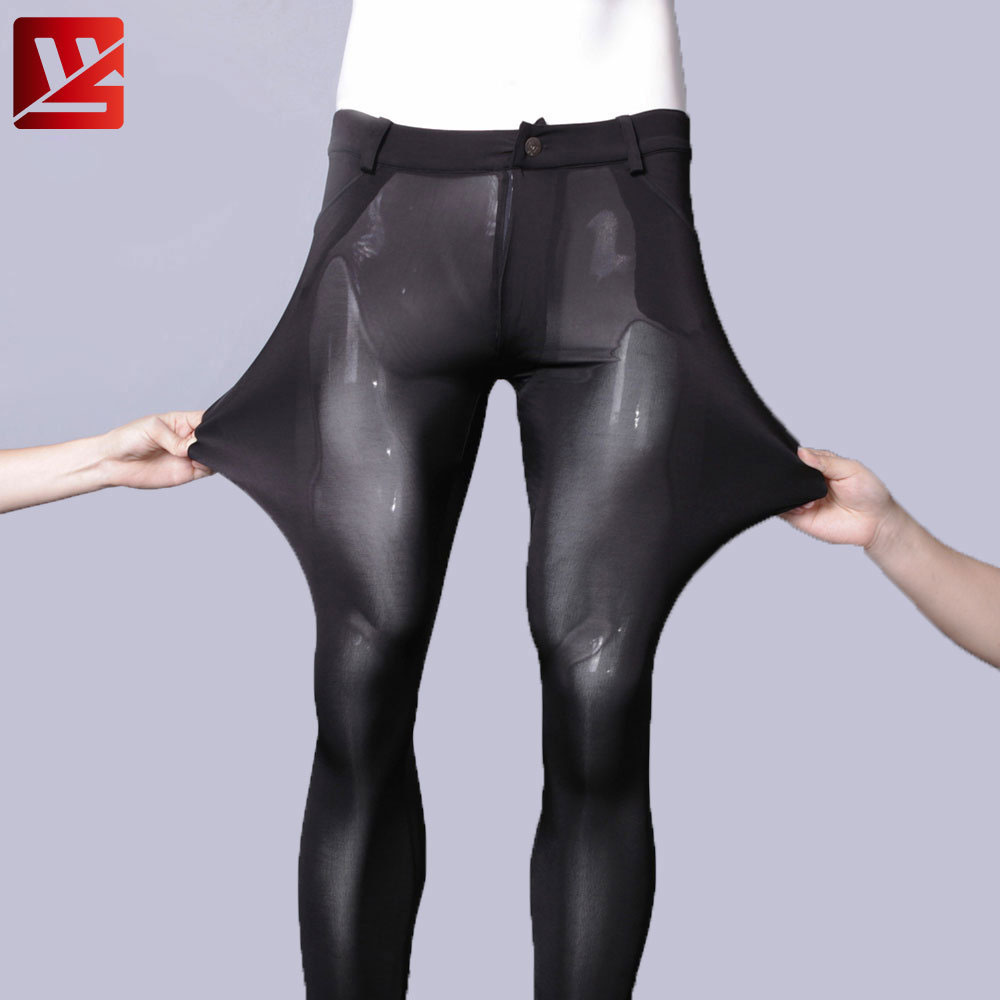MEISE Sexy Men Ice Silk Cotton Tight Penic Pants U Convex Crotch Thin High-elastic Casual Pants Smooth Breathable Nightclub Pant