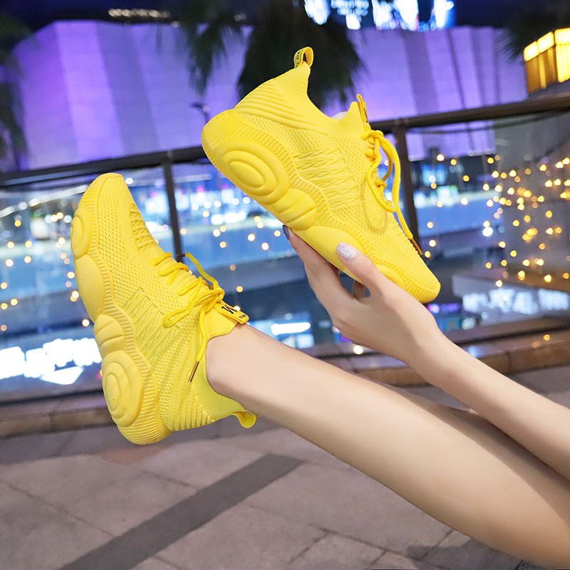 Women's Sneakers Mesh Breathable Pink Yellow Women Casual Shoes Lace-up Light Weight Ladies Platform Footwear Zapatillas Mujer