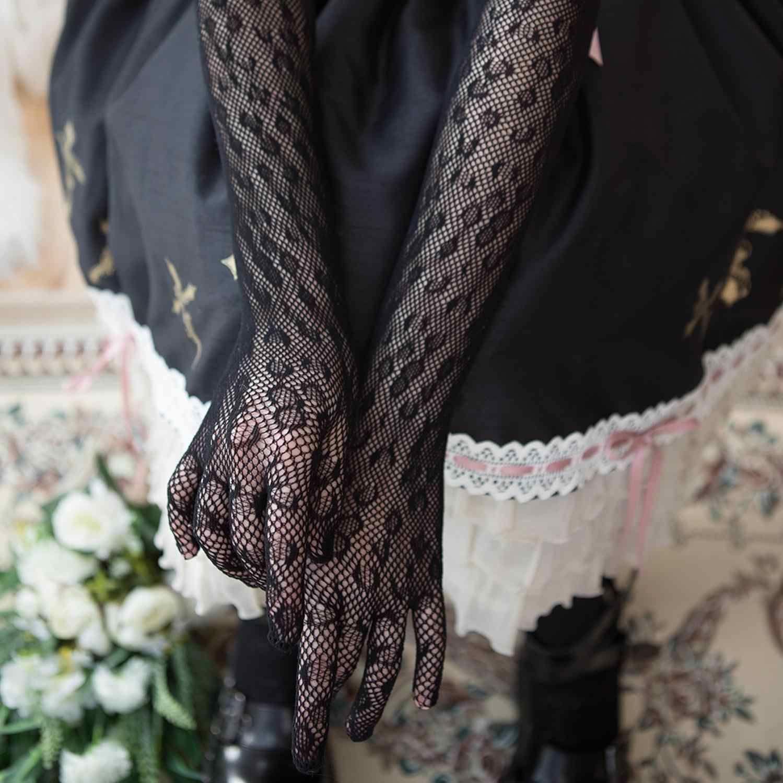 Lolita robe manches Vintage gothique robe dentelle robe de mariée main manches gants femmes soleil preuve mariée maille gants