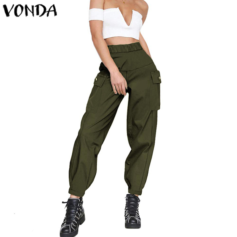 VONDA Overalls Women Streetwear Pants 2019 Female Casual Loose High Waist Hot Big Pockets Cargo Pants Vintage Baggy Trouser 5XL