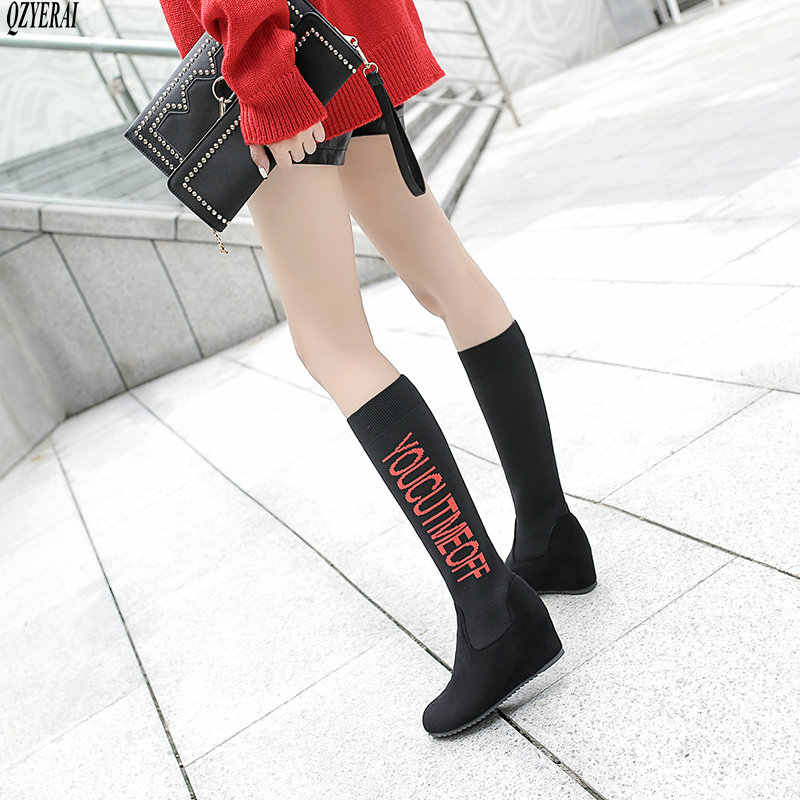 Sonbahar Moda Kadın Iplik Elastik Çizmeler Streç Kumaş yarım çizmeler Kış Tıknaz Orta Topuklu Çorap Çizmeler Artı Boyutu Ayakkabı