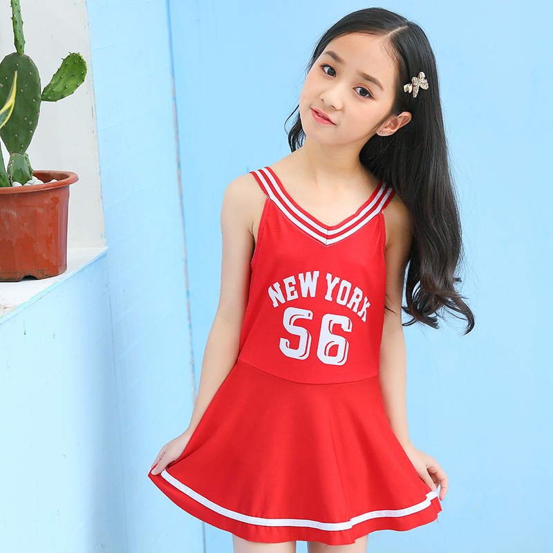 2019 New Style Girls Dress Children 5-9-Year-Old Tour Bathing Suit Camisole Backless Sports One-piece KID'S Swimwear