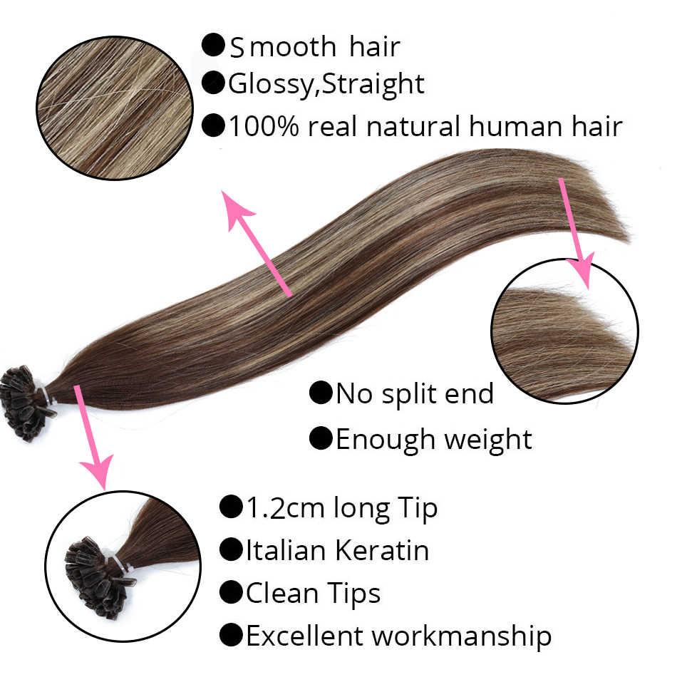 "MRSHAIR 1g/pc 14"" 18"" 20"" Ombre Fusion Hair Extensions Straight Remy Nail Hair Keratin Pre Bonded Human Hair Full Head 50PCS"