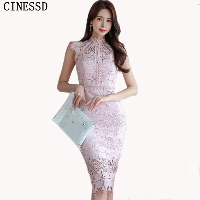 CINESSD Sexy Lace Pink Long Maxi Dress 2019 Women Summer Hollow Out Splicing Stand Sleeveless Knee-length Party Dress Vestidos