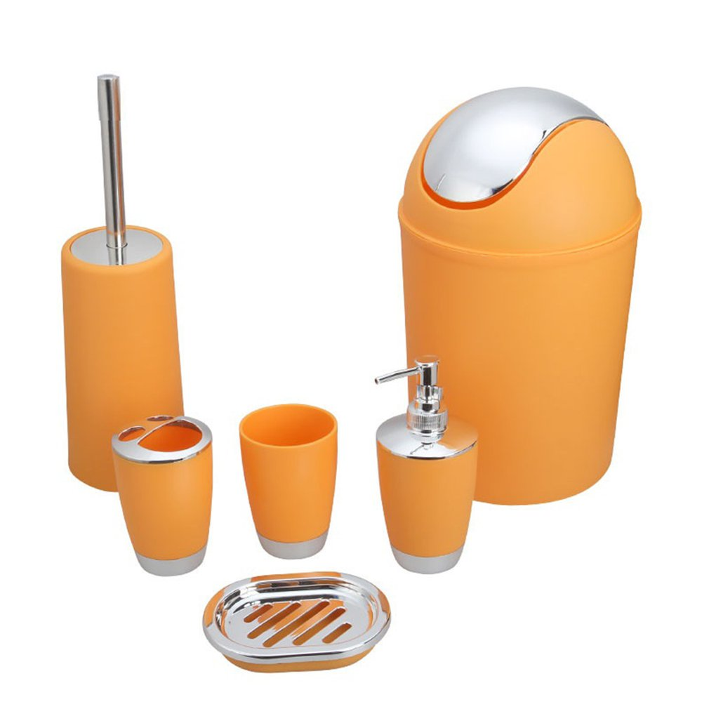 Creative Trash Can Hotel Household Goods Frosted Surface Plastic Bathroom 6Pcs Set Wash Bathroom Toiletries