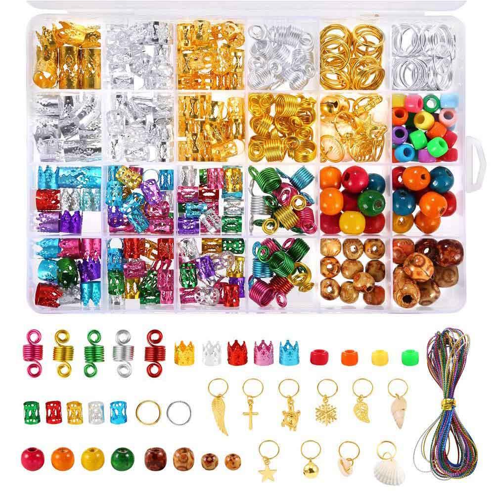 398pcs/box Coil Clip Jewelry Rings Dreadlocks Cuff Braid Hair Bead Set Accessories DIY Charm Extension Party Decorations Metal