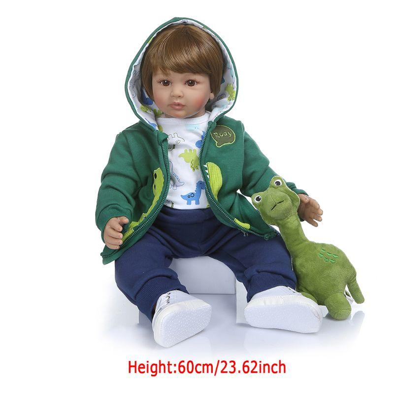 60cm 24in réaliste Reborn poupée souple Silicone vinyle nouveau-né bébés garçon réaliste fait à la main jouet pour enfants anniversaire noël Gif