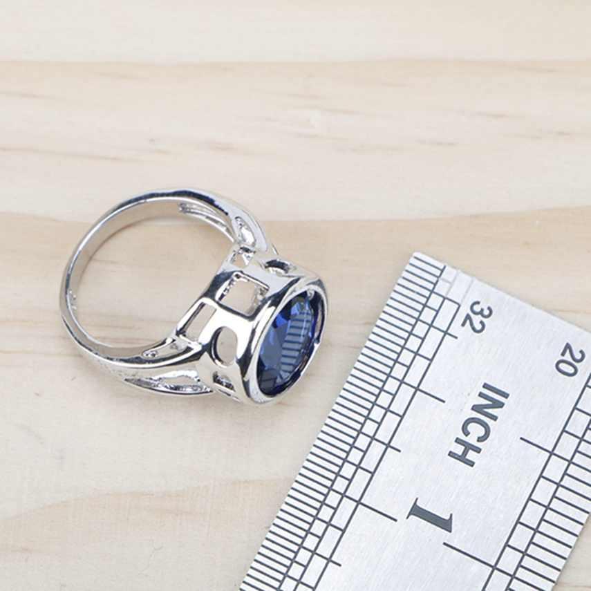 ผู้หญิงเงิน 925 เครื่องประดับชุดผู้หญิง 2018 Blue Cubic Zirconiaแหวน/สร้อยข้อมือ/ต่างหู/จี้สร้อยคอชุดฟรีของขวัญกล่อง