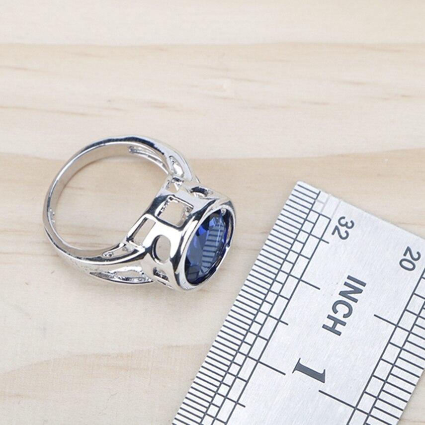 Ladies Silver 925 Jewelry Sets For Women 2018 Blue Cubic Zirconia Rings/Bracelets/Earrings/Pendant Necklace Set Free Gift Box