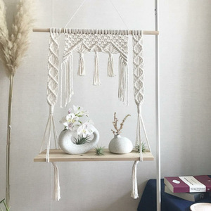 Image 2 - Macrame Hanging Planter Basket Wall handmade plant hanger pot indoor purl edging and wood bead  Party Wedding Home Decoration