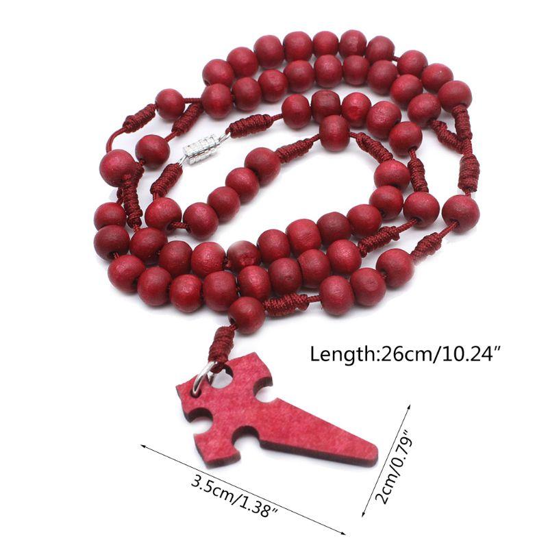 Деревянный молитвенный бисер 6 мм четки крест ожерелье кулон плетеная веревка цепь ювелирные аксессуары Q9QA