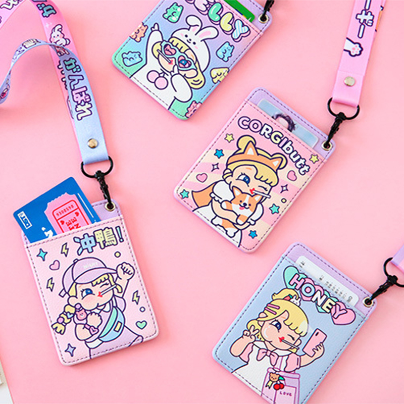 Bentoy Girl PU Cartoon Bus Card Holder Milkjoy Student School Leather Neck ID Card Cover Women New Letter Rope Credit Card Clip image