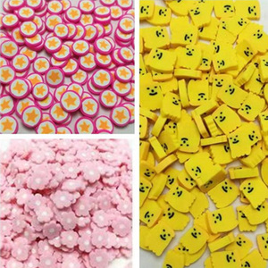 50g/lot Cartoon Banana Star flower Slices Polymer Hot Soft Clay Sprinkles for Nails Art Craft DIY Making Slime Phone Case Decor