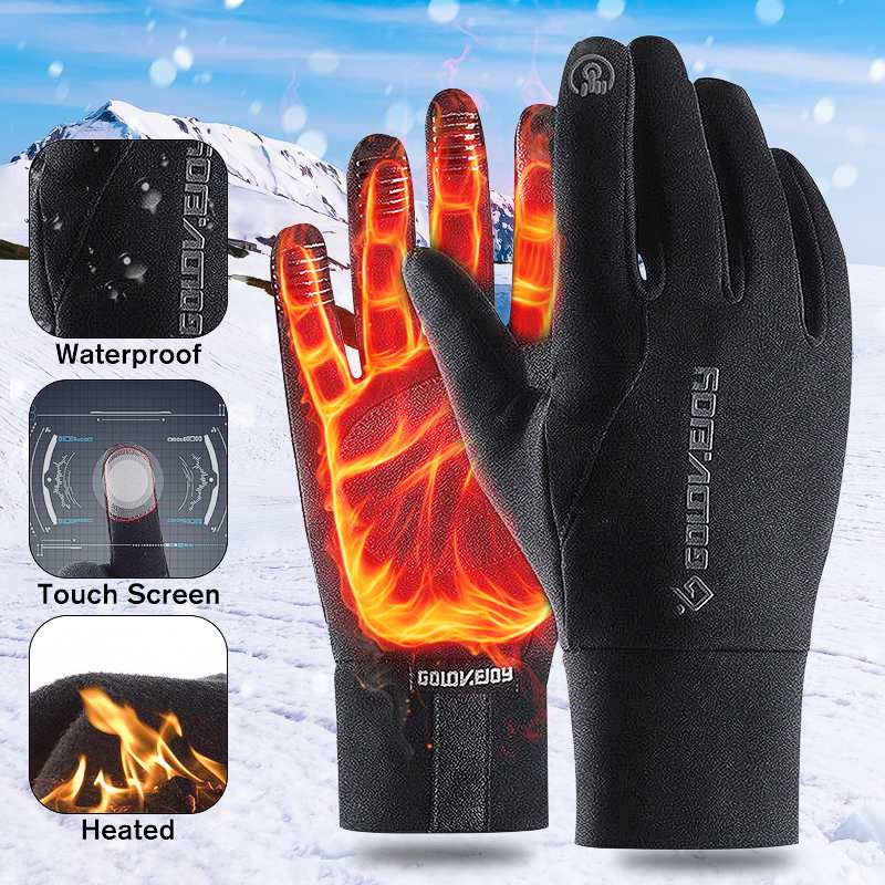 Motorcycle Gloves Winter Thermal Fleece Lined Mitten Touch Screen Non-slip Gloves Motocross Bike Riding Cycling Gloves