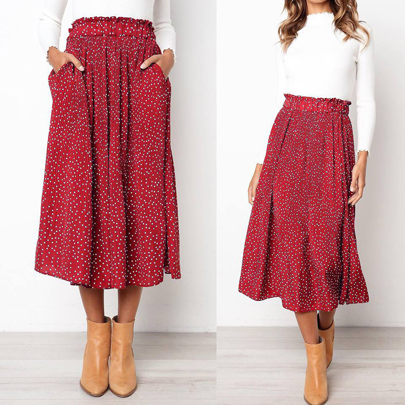 Fashion Dot Pleated Skirts For Women Slim Pocket Long Skirt High Waist Long Printed Elastic Skirt Lady Spring Autumn Promotions