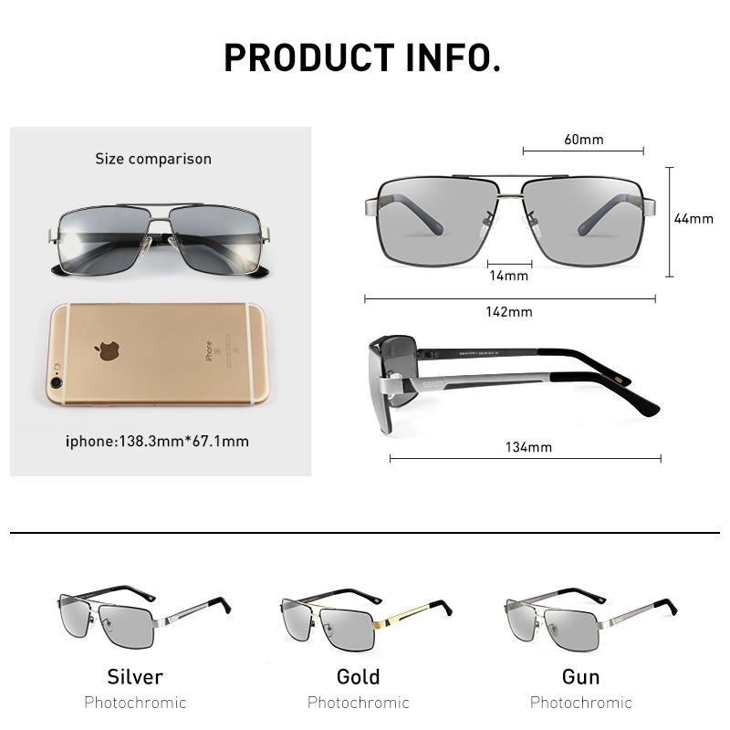 Image 5 - CAPONI Metal Sun Glasses Polarized Day And Night Driving Eyewear For Male High Quality Photochromic Sunglasses Oculos BS031-in Men's Sunglasses from Apparel Accessories