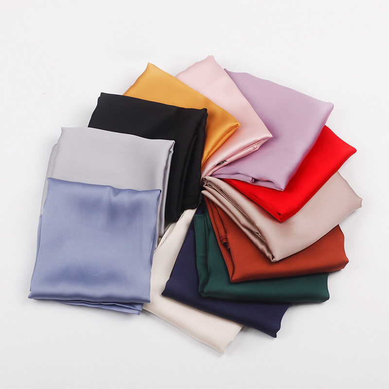 70*70cm Solid Silk Handkerchief Small Hair Scarf For Women Cute Plain Bag Scarfs Female Green Black Pink Neck Scarves For Ladies