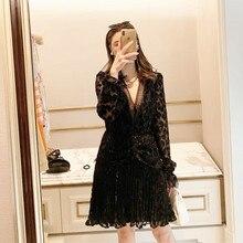 HANZANGL Black Lace sexy Short Dress 2020 New Velvet Leopard Bright Line V-neck