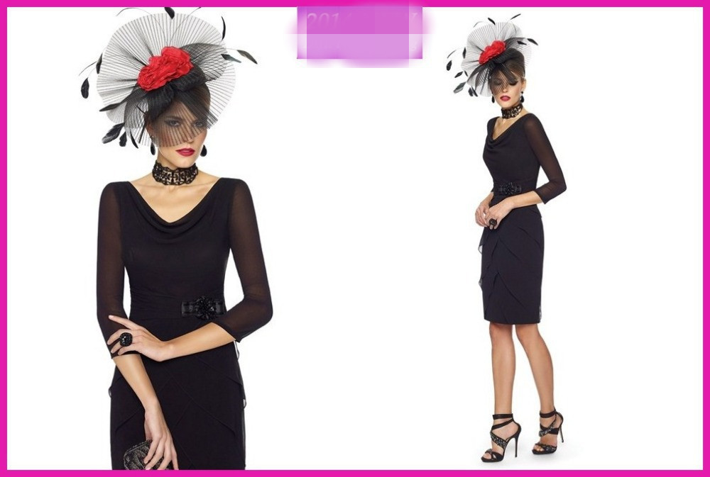 New Arrival Sexy Three Quarter Sheath Sequined Knee Length Chiffon 2020 Black Short Mother Of The Bride Dresses For Weddings
