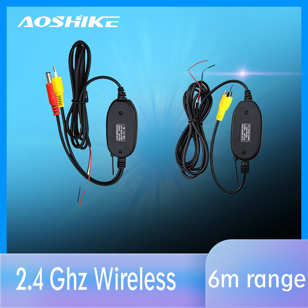AOSHIKE 2.4 Ghz Wireless Rear View Camera RCA Video Transmitter & Receiver Kit for Car Rearview Monitor FM Transmitter Receiver image
