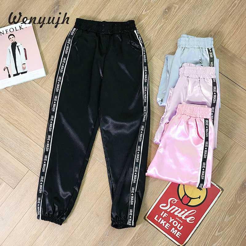Wenyujh женские шаровары с эластичной резинкой на талии 2019 осенние модные женские глянцевые спортивные брюки с лентой Harajuku джоггеры однотонные штаны
