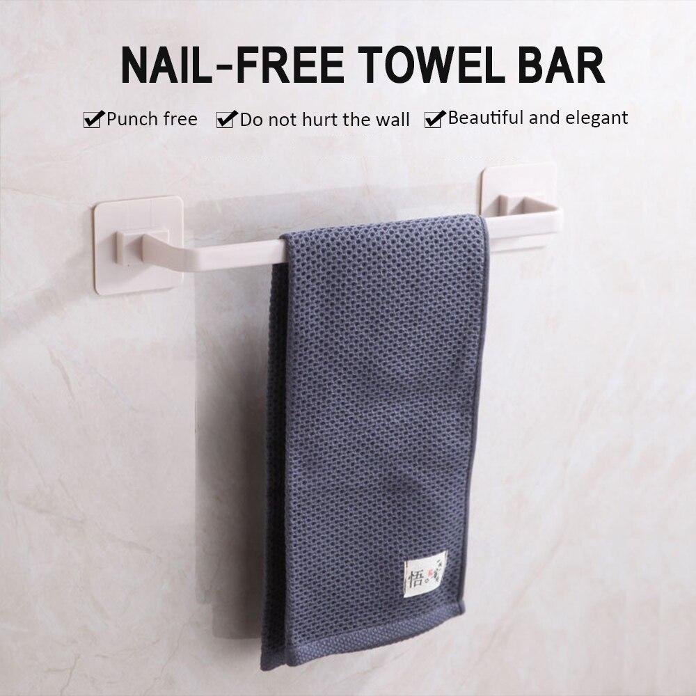 1 Pcs Adhesive Sticky Mount Hanger Rack Free Punch Bathroom Towels Wall Hanging Bathroom Wall Towel Rack Bathroom Tools Durable