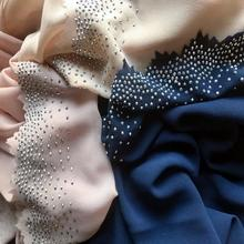 1pcシフォン波クリスタルエッジsスカーフヒジャーブイスラム教ラップファッション高級ダイヤモンド辺ショール女性無地固体スカーフ