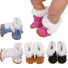 43 cm baby dolls shoes newborn Cute furry winter boots Baby toys fit American 18 inch Girls doll g151