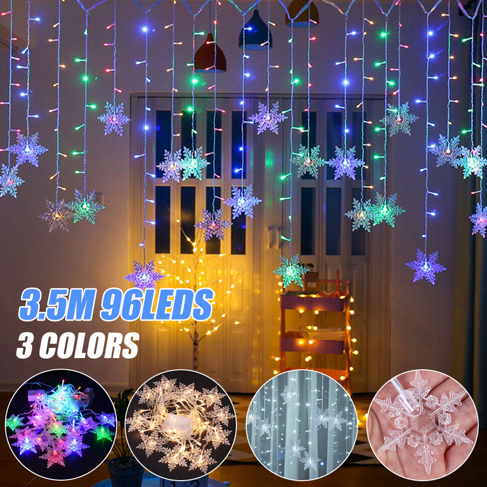 Colorful Snowflake LED Lights Christmas Curtain Flashing Lights Fairy Lights For Home Outdoor Holiday Party Decoration