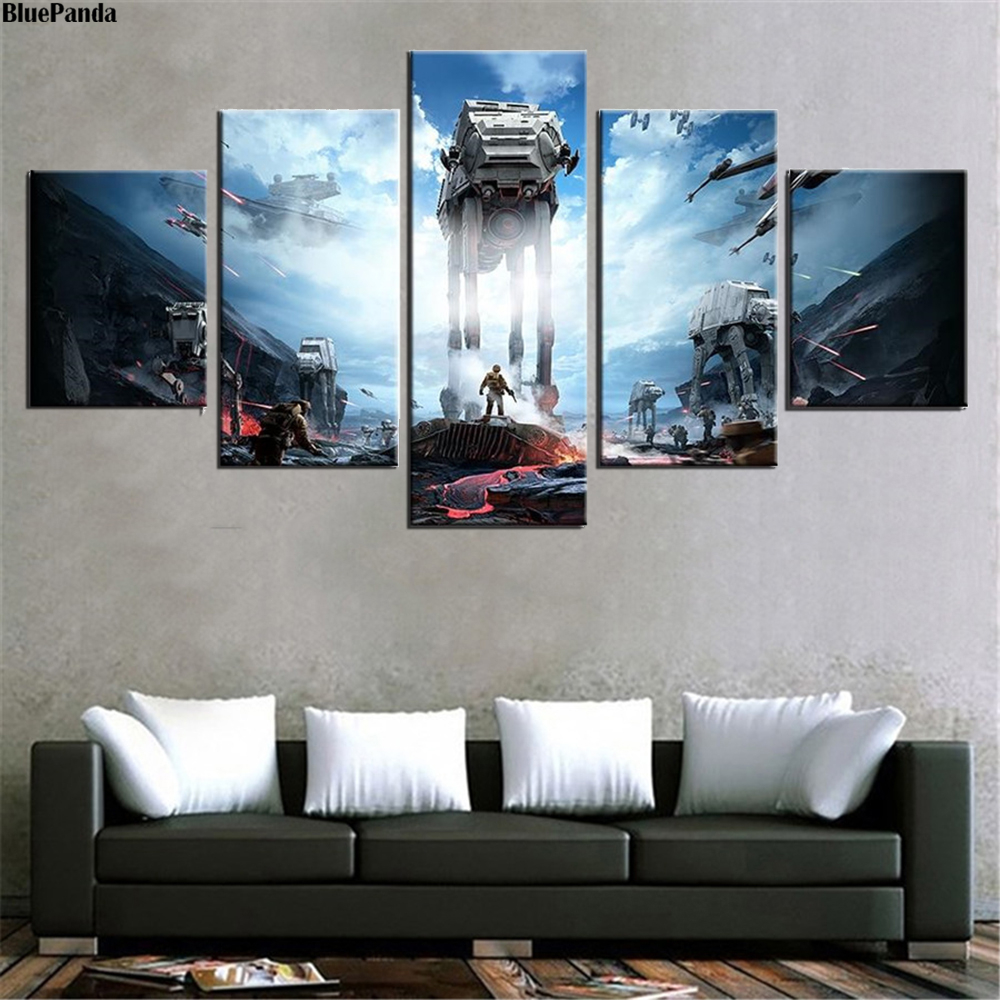 Star Wars Triple Lightsaber Infographic 5 Pieces Canvas Painting Oil Print Poster Wall Art Picture For Living Room Home Decor image