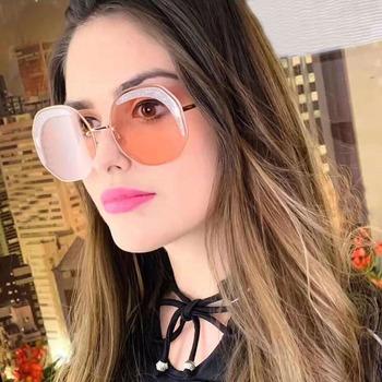 Włochy luksusowe okulary okulary Polygon damskie okulary przeciwsłoneczne damskie klasyczne marka projektant okulary Steampunk okulary różowe UV400 tanie i dobre opinie Sams So Plac Dla dorosłych Kobiety Stop Lustro Gradient Fotochromowe Antyrefleksyjną Żywica 160FF0358S 63mm 50mm