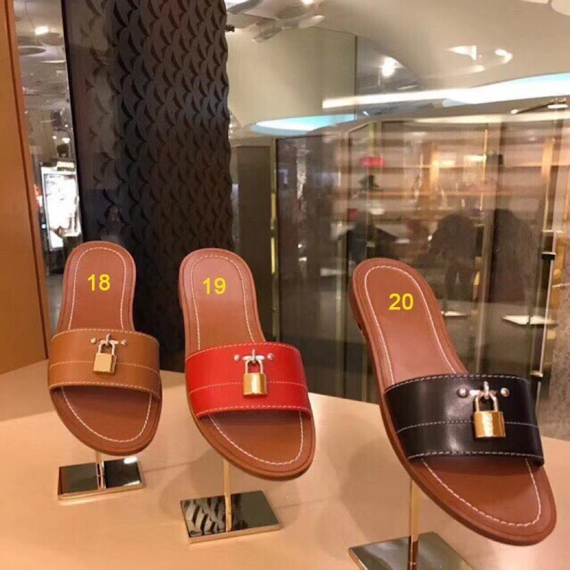 Women Designer Sandal Lock It Flat Mule Luxury Slippers Genuine Leather Designer Slides Summer Flat Flip Flops Large Size US4-11